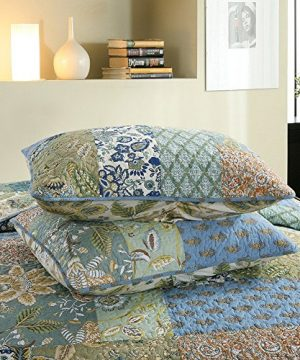 NEWLAKE Bohemian Floral Pattern Bedspread Quilt Set With Real Stitched EmbroideryQueen Size 0 2 300x360