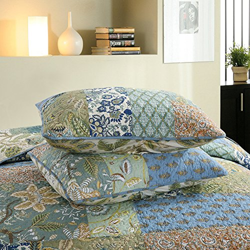 NEWLAKE Bohemian Floral Pattern Bedspread Quilt Set With Real Stitched EmbroideryQueen Size 0 2