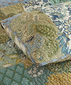 NEWLAKE Bohemian Floral Pattern Bedspread Quilt Set With Real Stitched EmbroideryQueen Size 0 3 300x360