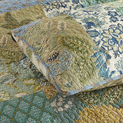 NEWLAKE Bohemian Floral Pattern Bedspread Quilt Set With Real Stitched EmbroideryQueen Size 0 3