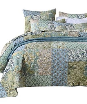 NEWLAKE Bohemian Floral Pattern Bedspread Quilt Set With Real Stitched EmbroideryQueen Size 0 300x360