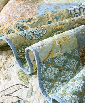NEWLAKE Bohemian Floral Pattern Bedspread Quilt Set With Real Stitched EmbroideryQueen Size 0 4 300x360