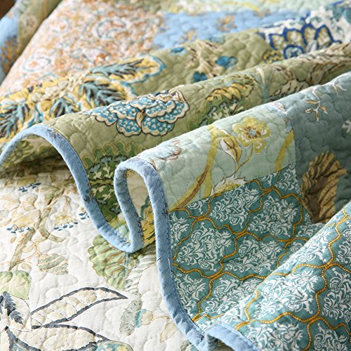 NEWLAKE Bohemian Floral Pattern Bedspread Quilt Set With Real Stitched EmbroideryQueen Size 0 4