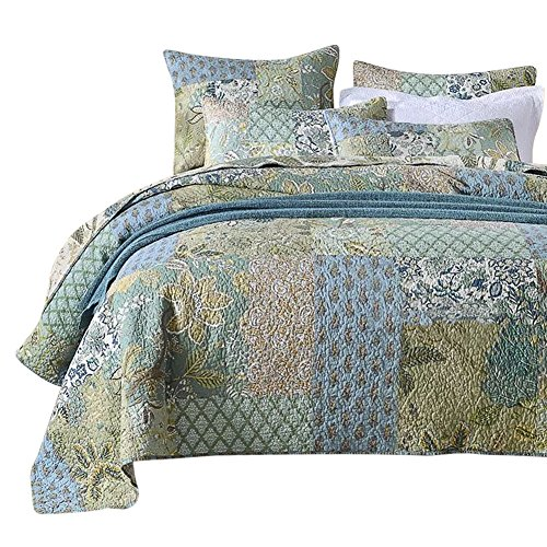 NEWLAKE Bohemian Floral Pattern Bedspread Quilt Set With Real Stitched EmbroideryQueen Size 0