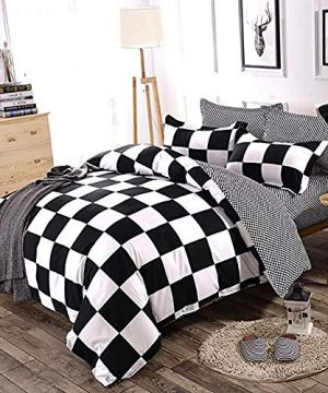 NOKOLULU Buffalo Check Black And White Plaid Duvet Cover Set With Zipper Closure Gingham Preppy Grid Pattern Checkered Printed Bedding Set Luxury Soft Breathable Comfortable TwinBlack And White 0 0 300x360