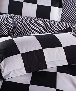 NOKOLULU Buffalo Check Black And White Plaid Duvet Cover Set With Zipper Closure Gingham Preppy Grid Pattern Checkered Printed Bedding Set Luxury Soft Breathable Comfortable TwinBlack And White 0 2 300x360