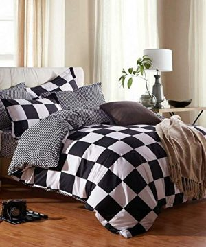 NOKOLULU Buffalo Check Black And White Plaid Duvet Cover Set With Zipper Closure Gingham Preppy Grid Pattern Checkered Printed Bedding Set Luxury Soft Breathable Comfortable TwinBlack And White 0 300x360