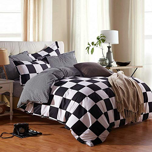 NOKOLULU Buffalo Check Black And White Plaid Duvet Cover Set With Zipper Closure Gingham Preppy Grid Pattern Checkered Printed Bedding Set Luxury Soft Breathable Comfortable TwinBlack And White 0