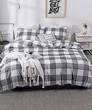 NOKOLULU Farmhouse Buffalo Check Gingham Simple Geometric Square Pattern Bedding Set Modern And Fashionable Plaid Anti Allergy Duvet Cover With Sham Set For Home Queen Grey 0 300x360