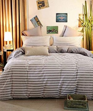 NOKOLULU Grey And White Striped Print Duvet Cover Set With Zipper Closure Contrast 2 Tone Reversible Comforter Cover Ultra Soft Breathable Durable Striped Bedding Set For All Seasons QueenGrey 0 300x360