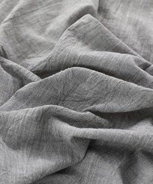 NTBAY 3 Pieces Solid Color Linen Duvet Cover Set With Exquisite Ruffles Design Breathable Grey Queen 0 0 300x360