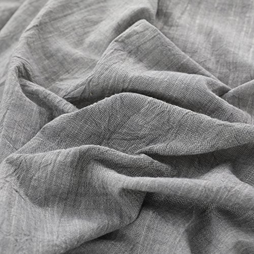 NTBAY 3 Pieces Solid Color Linen Duvet Cover Set With Exquisite Ruffles Design Breathable Grey Queen 0 0