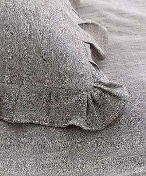 NTBAY 3 Pieces Solid Color Linen Duvet Cover Set With Exquisite Ruffles Design Breathable Grey Queen 0 1 300x360