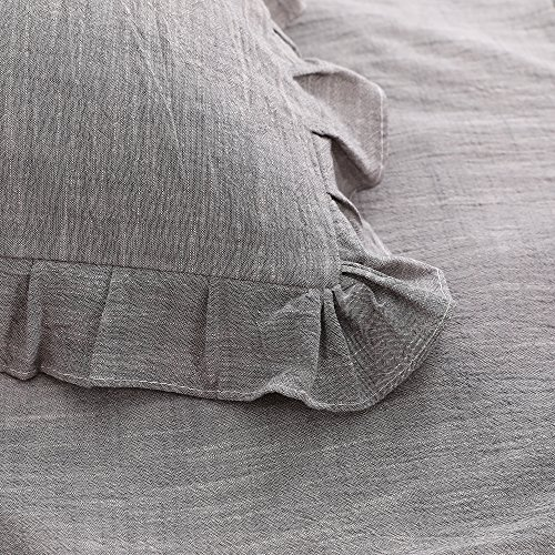 NTBAY 3 Pieces Solid Color Linen Duvet Cover Set With Exquisite Ruffles Design Breathable Grey Queen 0 1