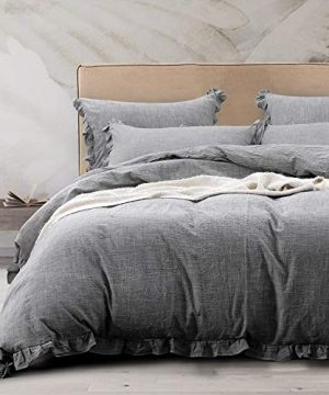 NTBAY 3 Pieces Solid Color Linen Duvet Cover Set With Exquisite Ruffles Design Breathable Grey Queen 0 300x360