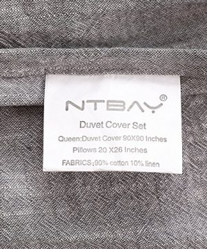 NTBAY 3 Pieces Solid Color Linen Duvet Cover Set With Exquisite Ruffles Design Breathable Grey Queen 0 4 300x360