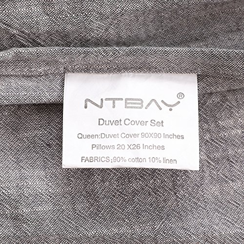 NTBAY 3 Pieces Solid Color Linen Duvet Cover Set With Exquisite Ruffles Design Breathable Grey Queen 0 4