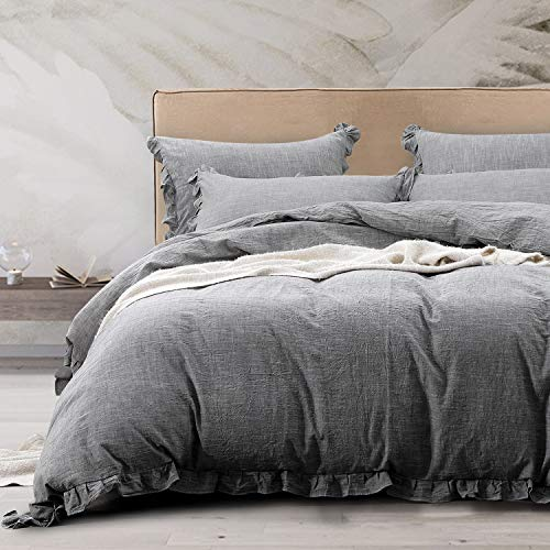 NTBAY 3 Pieces Solid Color Linen Duvet Cover Set With Exquisite Ruffles Design Breathable Grey Queen 0