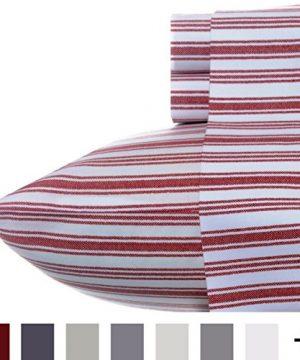 Nautica Stripe Cotton Percale Sheet Set Twin Colridge Red 0 1 300x360