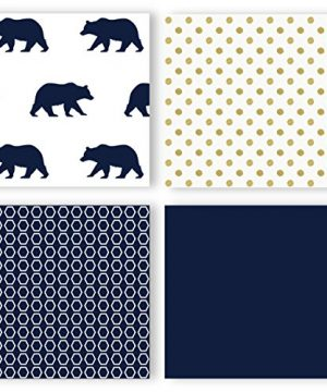 Navy Blue Gold And White Patchwork Big Bear Boy Baby Crib Bedding Set Without Bumper By Sweet JoJo Designs 4 Pieces 0 1 300x360