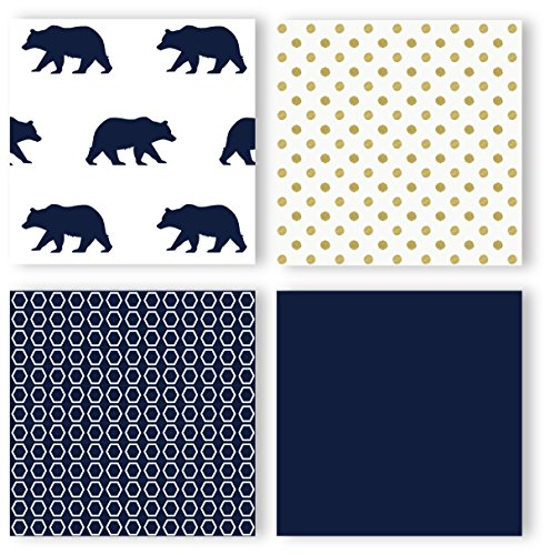 Navy Blue Gold And White Patchwork Big Bear Boy Baby Crib Bedding Set Without Bumper By Sweet JoJo Designs 4 Pieces 0 1