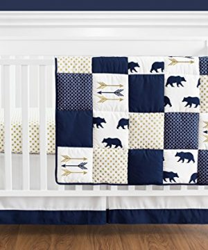 Navy Blue Gold And White Patchwork Big Bear Boy Baby Crib Bedding Set Without Bumper By Sweet JoJo Designs 4 Pieces 0 300x360