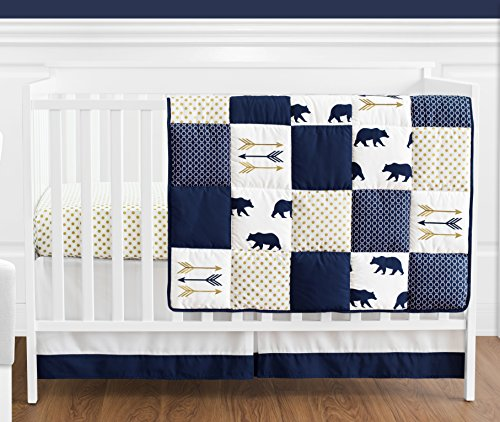 Navy Blue Gold And White Patchwork Big Bear Boy Baby Crib Bedding Set Without Bumper By Sweet JoJo Designs 4 Pieces 0