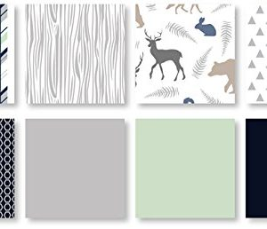 Navy Blue Mint And Grey Woodsy Deer Boys Baby Bedding 4 Piece Crib Set Without Bumper 0 1 300x258