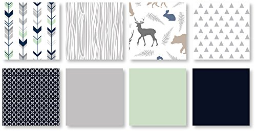 Navy Blue Mint And Grey Woodsy Deer Boys Baby Bedding 4 Piece Crib Set Without Bumper 0 1