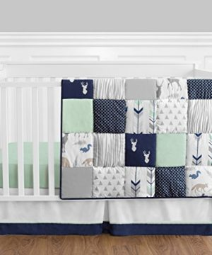 Navy Blue Mint And Grey Woodsy Deer Boys Baby Bedding 4 Piece Crib Set Without Bumper 0 300x360