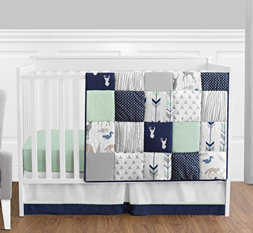 Navy Blue Mint And Grey Woodsy Deer Boys Baby Bedding 4 Piece Crib Set Without Bumper 0