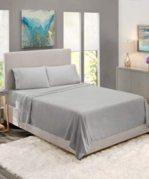 Nestl Bedding Soft Sheets Set 4 Piece Bed Sheet Set 3 Line Design Pillowcases Easy Care Wrinkle Free 1016 Good Fit Deep Pockets Fitted Sheet Warranty Included King Silver 0 2 300x360
