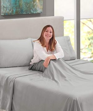 Nestl Bedding Soft Sheets Set 4 Piece Bed Sheet Set 3 Line Design Pillowcases Easy Care Wrinkle Free 1016 Good Fit Deep Pockets Fitted Sheet Warranty Included King Silver 0 3 300x360
