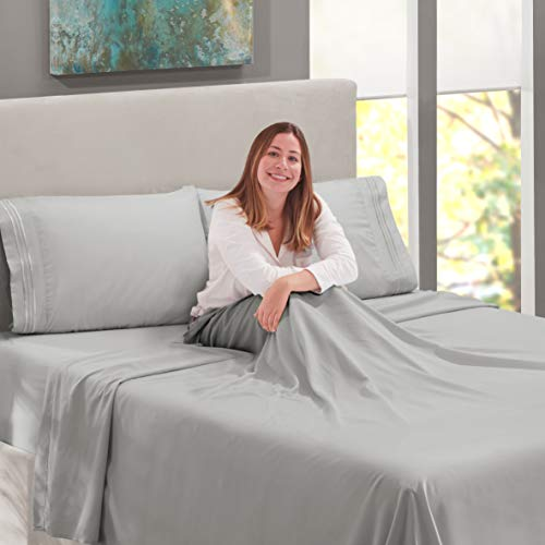 Nestl Bedding Soft Sheets Set 4 Piece Bed Sheet Set 3 Line Design Pillowcases Easy Care Wrinkle Free 1016 Good Fit Deep Pockets Fitted Sheet Warranty Included King Silver 0 3