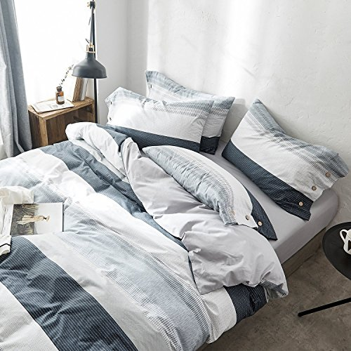 OREISE Duvet Cover Set FullQueen Size 100 Cotton Bedding Set Gray Blue White Printed Striped Style3Piece 1 Duvet Cover 2 PillowcaseComfortable Luxurious Hypoallergenic 0 0