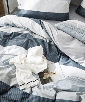 OREISE Duvet Cover Set FullQueen Size 100 Cotton Bedding Set Gray Blue White Printed Striped Style3Piece 1 Duvet Cover 2 PillowcaseComfortable Luxurious Hypoallergenic 0 1 300x360