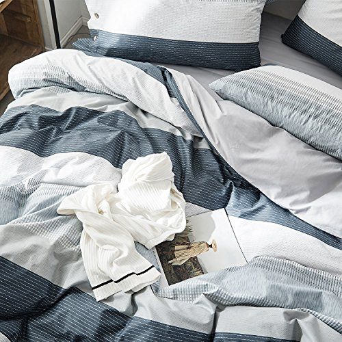 OREISE Duvet Cover Set FullQueen Size 100 Cotton Bedding Set Gray Blue White Printed Striped Style3Piece 1 Duvet Cover 2 PillowcaseComfortable Luxurious Hypoallergenic 0 1