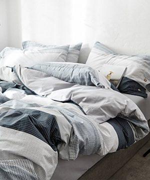 OREISE Duvet Cover Set FullQueen Size 100 Cotton Bedding Set Gray Blue White Printed Striped Style3Piece 1 Duvet Cover 2 PillowcaseComfortable Luxurious Hypoallergenic 0 2 300x360