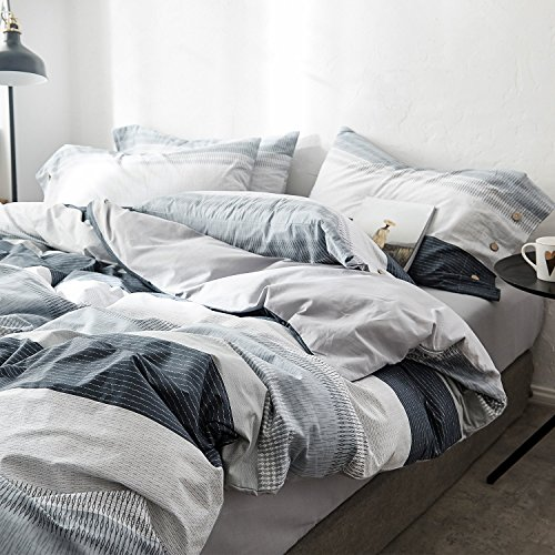 OREISE Duvet Cover Set FullQueen Size 100 Cotton Bedding Set Gray Blue White Printed Striped Style3Piece 1 Duvet Cover 2 PillowcaseComfortable Luxurious Hypoallergenic 0 2