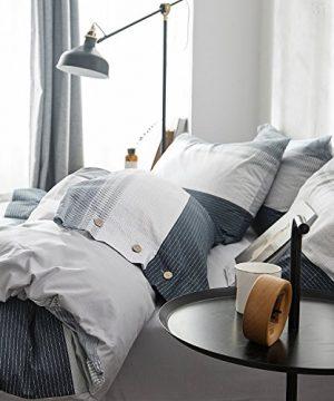 OREISE Duvet Cover Set FullQueen Size 100 Cotton Bedding Set Gray Blue White Printed Striped Style3Piece 1 Duvet Cover 2 PillowcaseComfortable Luxurious Hypoallergenic 0 3 300x360
