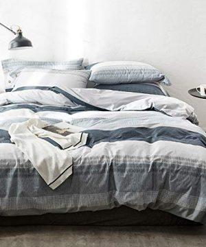 OREISE Duvet Cover Set FullQueen Size 100 Cotton Bedding Set Gray Blue White Printed Striped Style3Piece 1 Duvet Cover 2 PillowcaseComfortable Luxurious Hypoallergenic 0 300x360