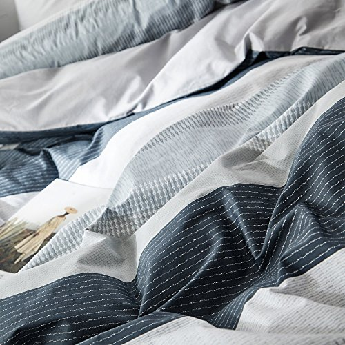 OREISE Duvet Cover Set FullQueen Size 100 Cotton Bedding Set Gray Blue White Printed Striped Style3Piece 1 Duvet Cover 2 PillowcaseComfortable Luxurious Hypoallergenic 0 4