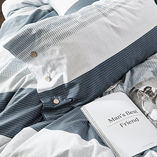 OREISE Duvet Cover Set FullQueen Size 100 Cotton Bedding Set Gray Blue White Printed Striped Style3Piece 1 Duvet Cover 2 PillowcaseComfortable Luxurious Hypoallergenic 0 5