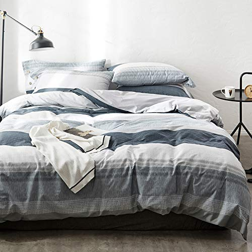 OREISE Duvet Cover Set FullQueen Size 100 Cotton Bedding Set Gray Blue White Printed Striped Style3Piece 1 Duvet Cover 2 PillowcaseComfortable Luxurious Hypoallergenic 0