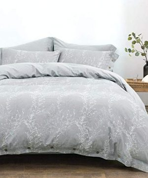 OREISE Duvet Cover Set King Size Washed Cotton Yarn Jacquard Gray And White Thin Branch Pattern Floral Style 3Piece Bedding Set 0 0 300x360