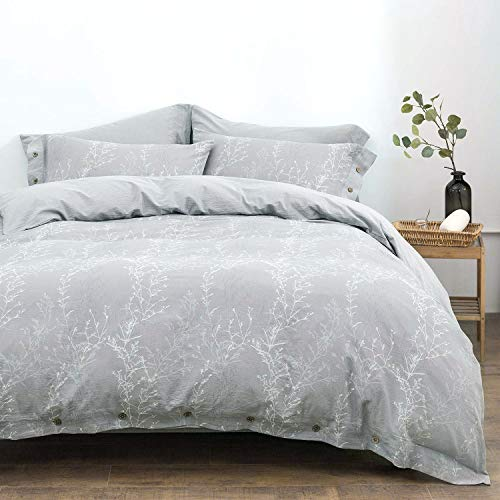 OREISE Duvet Cover Set King Size Washed Cotton Yarn Jacquard Gray And White Thin Branch Pattern Floral Style 3Piece Bedding Set 0 0