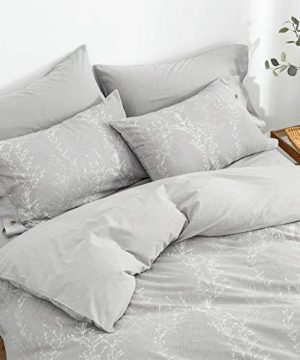 OREISE Duvet Cover Set King Size Washed Cotton Yarn Jacquard Gray And White Thin Branch Pattern Floral Style 3Piece Bedding Set 0 1 300x360