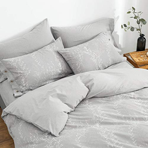 OREISE Duvet Cover Set King Size Washed Cotton Yarn Jacquard Gray And White Thin Branch Pattern Floral Style 3Piece Bedding Set 0 1