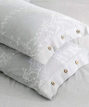 OREISE Duvet Cover Set King Size Washed Cotton Yarn Jacquard Gray And White Thin Branch Pattern Floral Style 3Piece Bedding Set 0 2 300x360