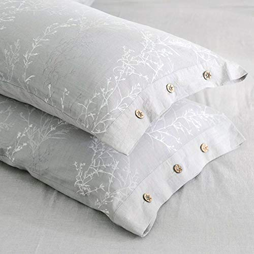 OREISE Duvet Cover Set King Size Washed Cotton Yarn Jacquard Gray And White Thin Branch Pattern Floral Style 3Piece Bedding Set 0 2